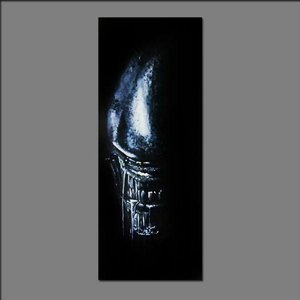 Alien Xenomorph Print of acrilic paint on canvas by Shamack12x30cm