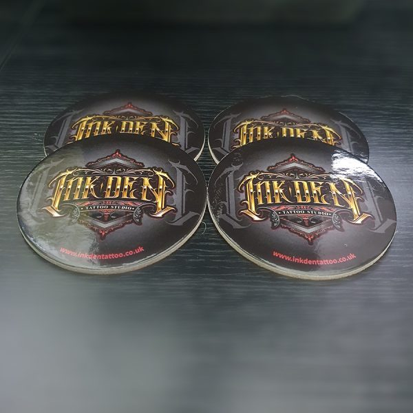 Inkden Coaster Pack of 4 round Front 10cm