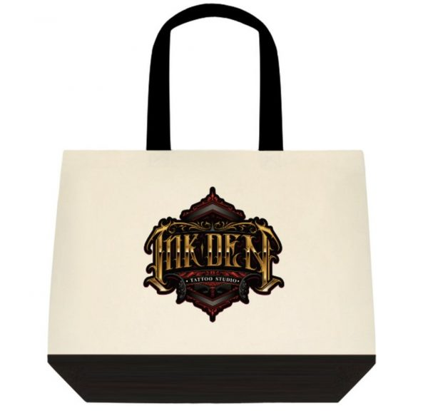 Inkden Logo Two Tone Deluxe Classic Cotton Tote Bags Front side
