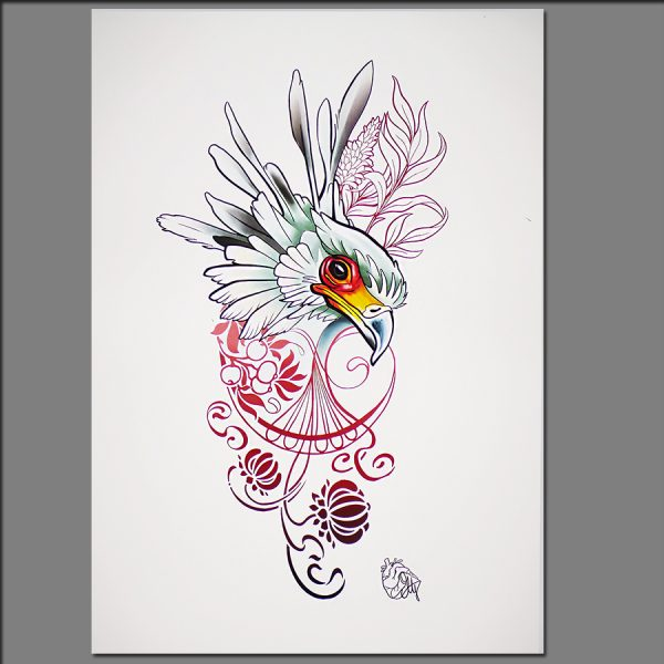 Print Bird with filigree from Digital painting by Adrianna Grzelak 40