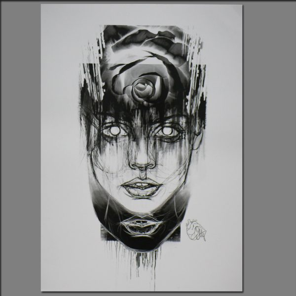 Print Female face with rose from Digital painting by Adrianna Grzelak 42x29