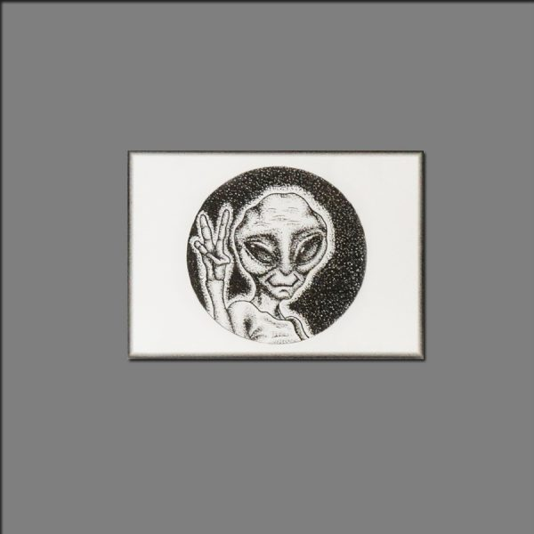 Print peaceful alien from ink on paper limited editions of 20 by David 2018